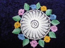 Superb Vintage Lace Doily Figural 3 D Roses