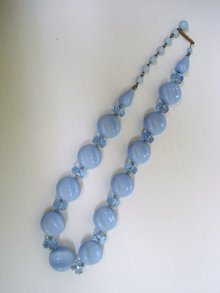 Antique Art Glass Necklace Sky Blue