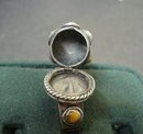 Unique Vintage Sterling Ring Tigers Eye Poison Ring