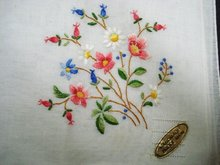 Handkerchief Hanky Hankie Floral Embroidery