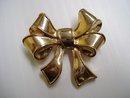 Vintage Broach Golden Bow