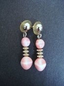 Vintage Glass Earrings Pink Glass and Silver Beads