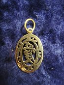 14k Gold Pendant Gift Holiday Vintage Oriental