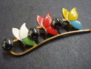 Antique Brooch Floral Colourfull Gift Holiday