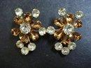 Impressive Vintage Earrings Clip Style Golden Amber Tone Signed Avon