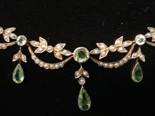 Antique Lavaliere Necklace Victorian 9c Gold and Peridot Stones