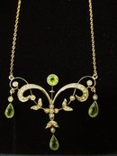 Gold Peridot and Seed Pearls Lavaliere Victorian Necklace