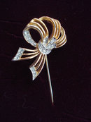 Vintage Hatpin Jewelled Bow - Signed
