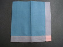 Vintage Handkerchief - Sea Blue Tone - Purple and Coral Trim - New Condition