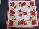Antique Handkerchief - Burgundy  and Yellow Tulips
