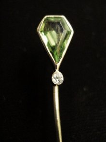 Gold  Victorian Stickpin Stick Pin Peridot and Diamond