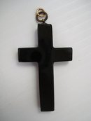 Antique Black Jet Cross - Large