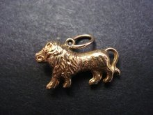Unusual Vintage Gold Charm or Pendant Gold Lion