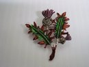 Fabulous Vintage Scottish Thistle Brooch Enamel and Marcasites