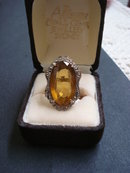Citrine Ladies Ring - Silver - Antique