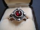 Glorious Sterling Silver Ring Cabochon Garnet Stone