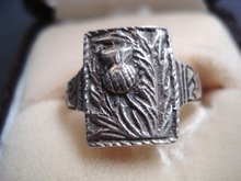 Superb Vintage Silver Ring  Scottish Thistle