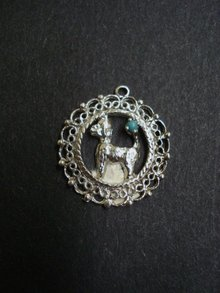 Vintage Sterling Silver Pendant or Large Charm - Poodle