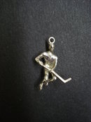 Unique Vintage Sterling Silver Charm - Hockey Player Figure