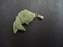 Vintage Carved Jade Stone Charm - Angel  Fish