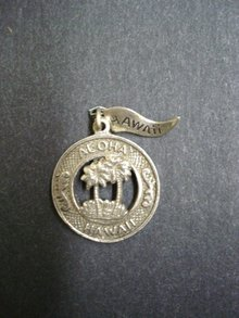 Sterling Circular Pendant or  Charm - Aloha Hawaii
