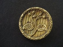 Special Antique Button Metal Gold Tone Art Nouveau Style