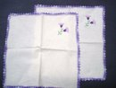 Embroidered Napkins - Pair - Crochet Border