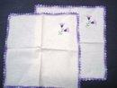Embroidered Napkins - Pair - Crochet Border