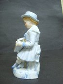 Antique Figural Bisque Vase - Lil Teacher - Hand Painted