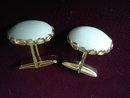 Vintage Cuff Links-Milk glass-Gold Tone