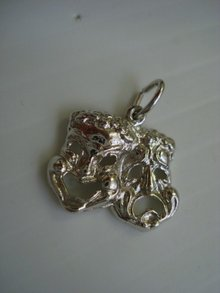 Comedy-Tragedy Masks Pendant-Sterling Silver