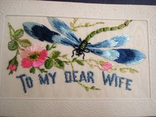 Silk Embroidery Postcard - 1917 - To my Dear Wife