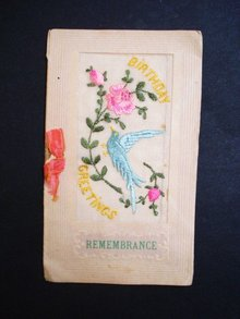 Silk Embroidery Postcard - 1918 - Birthday Greetings - Remembrance