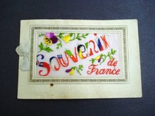 Silk Embroidery Postcard  - Christmas 1917 Souvenir de France WWI