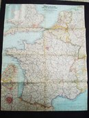 1960  Map of  France Belgium and Nrtherlands  Atlas Plate 32