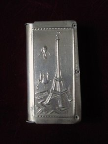 Antique Matchbox Case or Box, Eiffel Tower