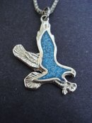 Pendant Necklace Turquoise Inlay Eagle