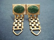 Vintage Cufflinks-Gold Tone-Green Agate Stone
