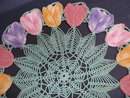 Antique Doily - Colourful Tulips - Hand Made