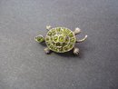 Victorian Figural Brooch Jeweled Turtle - Peridot Stones on Sterling Silver