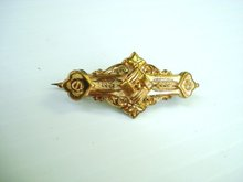 Victorian Barpin Brooch - Gold Top