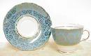 Colclugh Tea Cup & Saucer Aqua-Gold