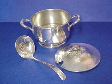 Silver 3 Piece Serving Dish Figural Lid