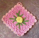 Pretty Vintage Colorful Pot Holder, Raised Rose