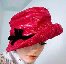 40 's Elegant Red  HAT / Black Bow