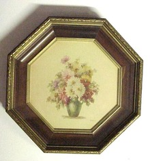 Needlework Floral Picture Shadow Frame