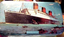 30's Ocean Liner QUEEN MARY Lovely Tin