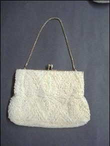 Shimmering White Ladies Evening Bag - Beaded