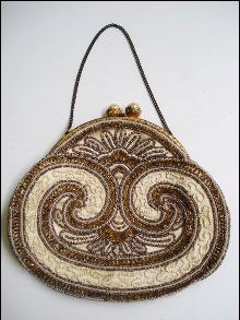 Antique Beaded Purse Bag-Art Nouveau-France