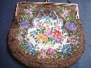 Lovely Petit Point Purse Floral Needlework
